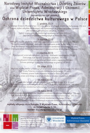 Program wykładów na Uniwersytecie Wrocławskim
