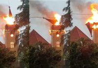 Pożar zabytkowego kościoła we Frednowach k. Iławy