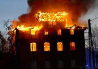 Pożar dawnego młyna wodnego w Iławie